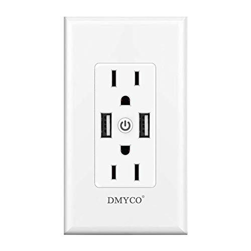 WiFi Smart Wall Outlet,Top & Bottom Outlets are Independently Controllable,Duplex Receptacle Socket,Compatible with Alexa Dot Echo Plus Google Assistant IFTTT, No Hub Required (1)