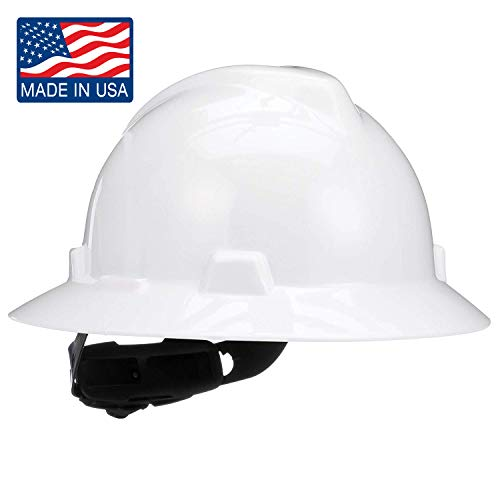 MSA 475369 V-Gard Slotted Full-Brim Hard Hat, with 4-point Fas-Trac III Suspension, Standard, White from MSA