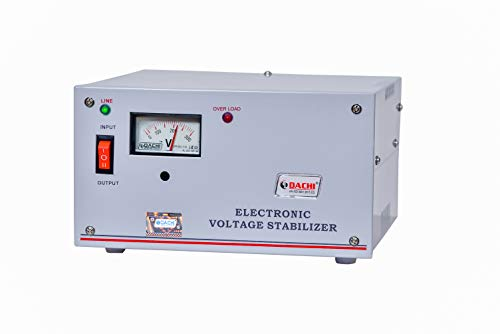 DACHI 1 KVA Automatic Voltage Stabilizer for Single/Double Door Refrigerator Upto 600 LTR. / Air Cooler/Computer from… 2021 August DACHI 1 KVA Automatic Voltage Stabilizer for Single/Double Door Refrigerator upto 600 LTR / Air Cooler from Input Working Range (40V-280V) Single Phase, Output (195V-245V) 3 AMP. Once Installed then No More Worries Of Power Fluctuations. Polyester Insulated Transformer for More Durability; Seven Tank Processed Sheet Metal Powder Coated Body; Quality Components; Rigorously tested as per I.S; High-Volt Passed; Latest Microcontrolled IC Technology.