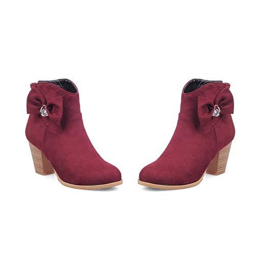 Botines de tacón Redondo con Punta Redonda para Mujer, Botines Cortos, Rojo Vino, 34: Amazon.es: Zapatos y complementos