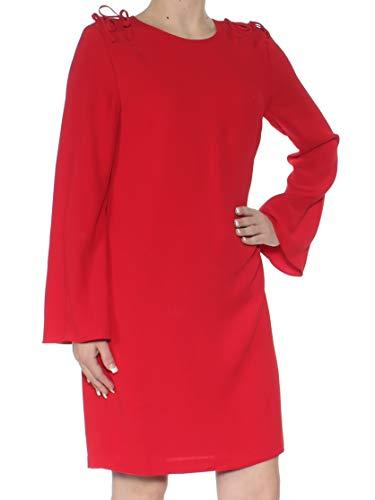 CeCe Women's Moss Tie Shoulder Bell Sleeve Shift Dress (Ribbon Red, 4) ()