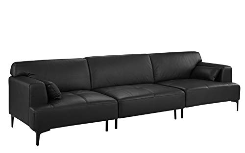 Extra Large Living Room Leather Sofa/Couch (Black)