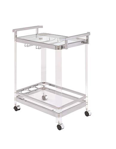 Coaster Home Furnishings 902589 3-Wine-Rack Serving Cart Chrome (Racks Bar For Home Bar Glass)