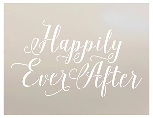 Happily Ever After Stencil by StudioR12 | Hand Drawn Script Word Art - Reusable Mylar Template | Painting, Chalk, Mixed Media | Use for Wall Art, DIY Home Decor - STCL1010 SELECT SIZE (8