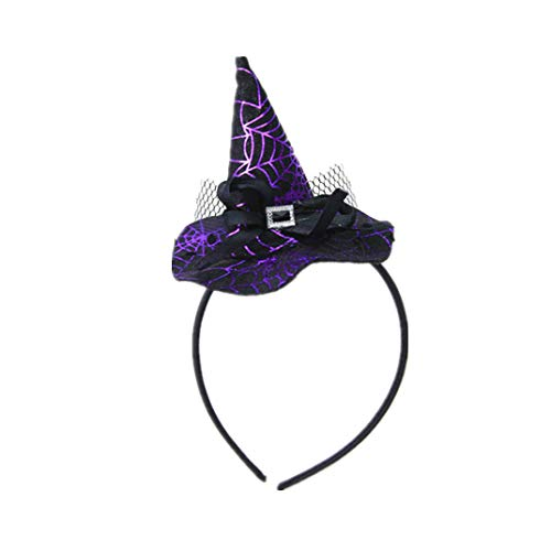 Winzik Children Halloween Headwear Mini Pointy Witch Hat Cute Hair Hoop Hairband Accessories Cosplay Party Props Decoration (1#)