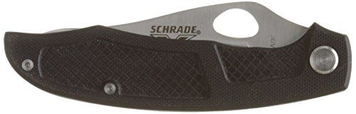 Stainless Blade Clip Point - Schrade SCH504 X-Timer Linerlock Knife, Black G-10 Handle with Stainless Clip Point Blade with Thumb Hole and Pocket Clip