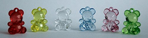 Crystal effect acrylic standing Teddy Bears ideal for baby showers, christening, confetti, favours, charms, cakes and pendant x 50(Choose the colour) (Yellow) by Make It Magical Crafts & Gifts