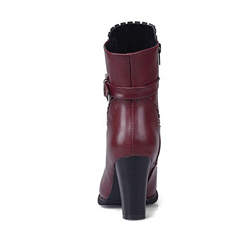 Allhqfashion Women's High Heels Solid Zipper Soft Material Round Closed Toe Boots Red xFT41DH