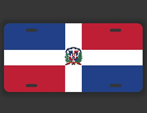 JMM Industries Dominican Republic Flag DR Dominican Vanity Novelty License Plate Tag Metal Car Truck 12-Inches by 6-Inches UV Resistant Print UVP067