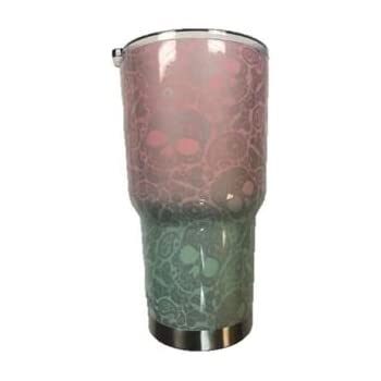 30 oz Tiffany's Transition Silver Paisley Skull Stainless Steel Tumbler with 100% Splash Proof Lid - Double-Wall Insulated Tumbler Warehouse Travel Coffee Mug for Hot & Cold Drinks - Sweat-Free