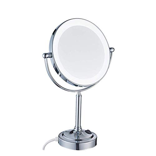 Makeup Mirror Lighted Vanity Double-Sided Magnifying 21 LED Illuminated 360 Rotation for Cosmetic, Skin Care, Shaving Traveling Gift - Pedestal Light Adjustable Magnification 7x