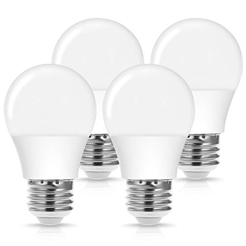 A15 E26 LED Bulb, JandCase 40W Equivalent Light Bulbs, 4W, Daylight White 5000k, 400LM, Refrigerator Freezer Bulb, Home/Office Lighting for Ceiling Fan, Bathroom, Not Dimmable, Medium Base, Pack of 4
