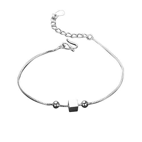 - Hosaire Girl's Small Square Chain Bracelet Fashion Plated Silver Bracelet Anklet