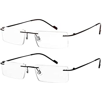 e0d6e1f8e82 Reading Glasses 2 Pair Rimless Ultra Lightweight Readers for Men and Women  +1