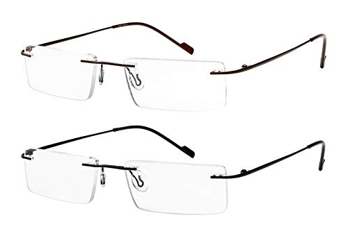 Reading Glasses 2 Pair Rimless Ultra Lightweight Readers for Men and Women ()
