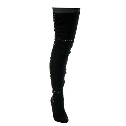 Black Cavalier Boot 11 high Thigh cm Stiletto Studded Angkorly Heel Shoes Sexy Women's Fashion Stiletto Iqv1706w