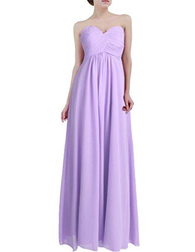 Freebily Vestido Largo Elegante Mujer Chica para Fiesta Cóctel Graduación Boda Vestido de Noche Morado Claro