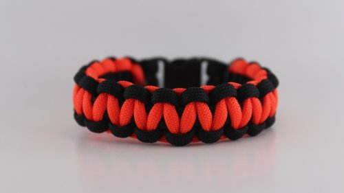 Neon Orange and Black Paracord Bracelet – 8 Inches, Outdoor Stuffs