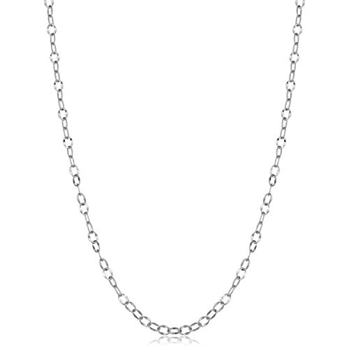 (Kooljewelry Sterling Silver Hammered Cable Link Chain Necklace (2.7 mm, 18 inch))