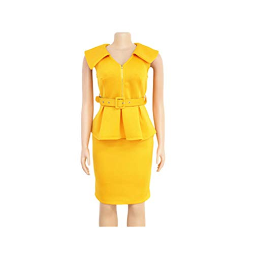 mimi forever Sexy Women Solid 2 Color Dress Sexy V Neck Sleeveless Empire Sashes Knee Length Dress,Yellow,XXL
