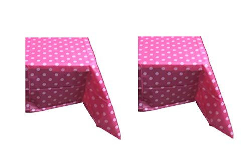 Hot Pink Polka Dot Tablecloth (Sweet Online Deal Heavy Duty Plastic Table Cover Hot Pink & White Plaid Polka Dots 54 x 108 Inch Rectangular - 2 Pack Tablecloths (HOT)
