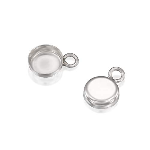 - Round Setting with 1 Loop 925 Sterling Silver 6 mm Bezel Cup Findings for Pendants Charms Earrings, 6 Pcs