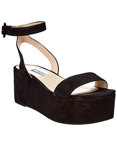 Prada Leather Suede - Prada Suede Platform Sandal, 38, Black