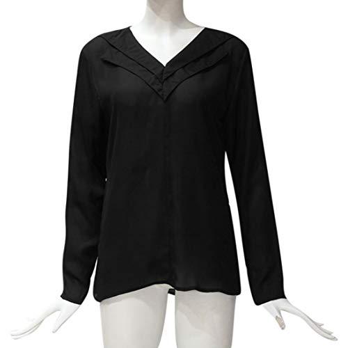 Col Printemps Shirts Chemisier Sleeve T Blouse Tops Taille Unie Grand Couleur Automne Noir CIELLTE Mousseline Manches Blouse Longues V Femme wxwq74f