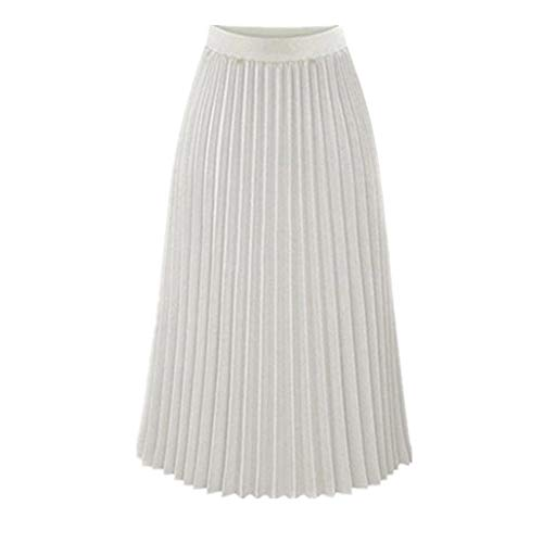 (Womens Solid Casual Pleated Elegant Classy Stretchy Waist Maxi Long Skirt White )