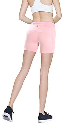 MYoga Women's Yoga Pants Workout Leggings Running Tights w Side Pockets (S, (Pink Jogging Pants)