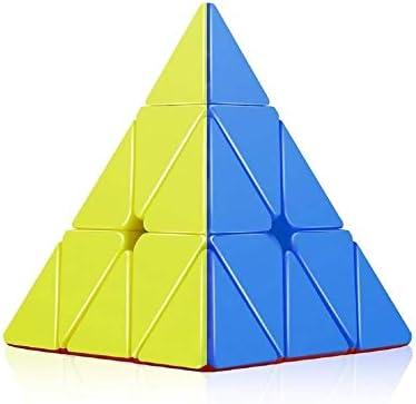 Pyraminx Stickerless Plastic High SpeedTriangle Rubik's Cube Puzzle 3x3x3 (Multi, Triangle)