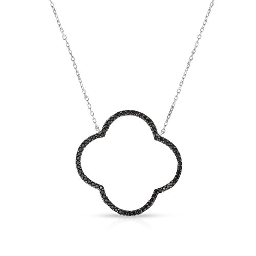 Unique Royal Jewelry Sterling Silver Open Four Leaf Clover Black Onyx Necklace with Adjustable Length. (Natural Silver)