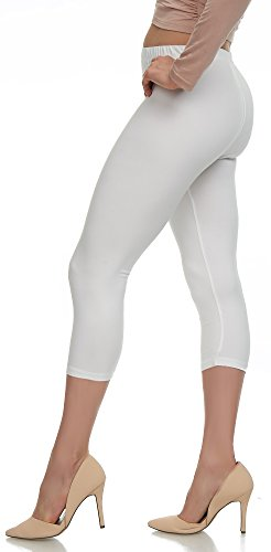 Extra Soft Capri Leggings with High Wast - 20 Colors - Plus (Plus Size (XL - 3XL), White)