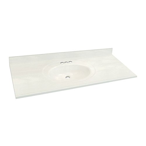 well-wreapped Transolid 1409-7931 61-in x 22-in Cultured Marble Bathroom Vanity Top in White on White