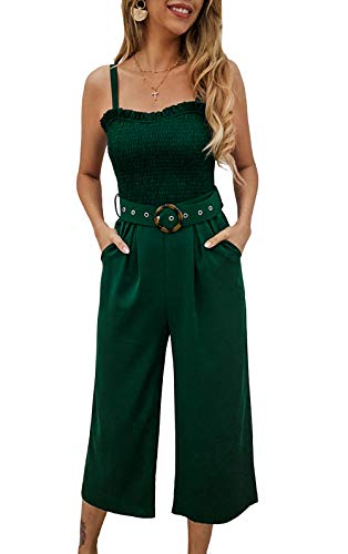Solid Strap Zipper - PRETTYGARDEN Women's Spaghetti Strap Halter Belted Zipper Back Wide Leg Pants Elegant Jumpsuit Romper with Pockets (Green, Large)