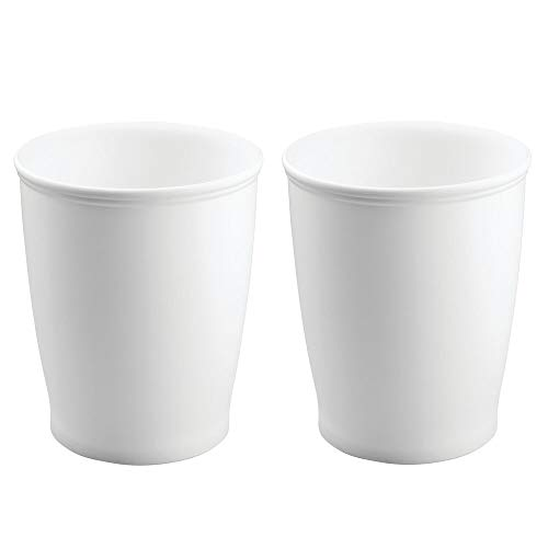 (mDesign Modern Round Shatter-Resistant Plastic Small Trash Can Wastebasket, Garbage Container Bin for Bathrooms, Kitchens, Home Offices, Dorm Rooms - 2 Pack - White)