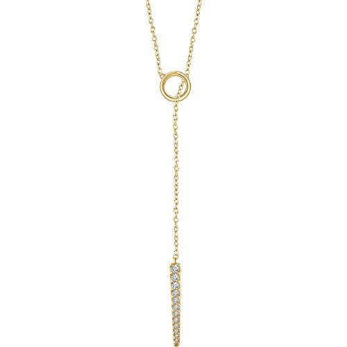 14k Yellow Gold 1/6 Ct Diamond Circle & Bar ''Y'' Lariat 16-18'' Necklace by Jewelplus