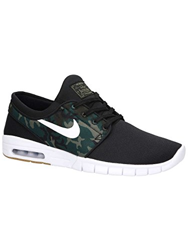 NIKE Men's Stefan Janoski Max Black/White/Medium Olive Running Shoe 10.5 Men (Mens Nike Sb)