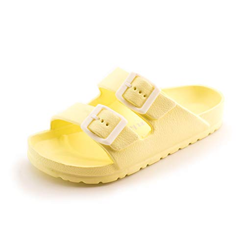 Link Unisex Double Buckle Comfort EVA Flat Slip On Slide Sandals (Yellow, 4)
