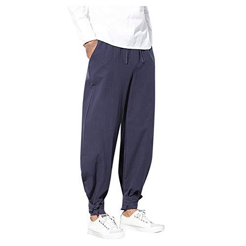 - Women's Casual Cotton Linen Baggy Pockets Pants Elastic Waist Comfort Solid Pleated Tapered Capri Trousers Slacks Sweatpants