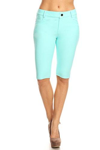 (ICONOFLASH Women's Turquoise Bermuda Shorts - Pull On Knee Length Jeggings Pockets Jean Leggings Size Medium)