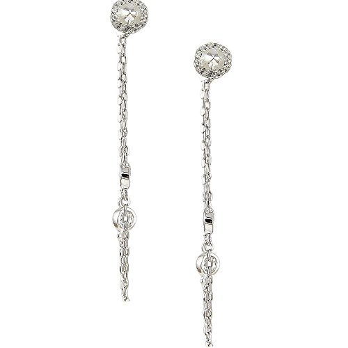 Platinum Plated 925 Sterling Silver Round Cubic Zirconia Drop Chain Cz By The Yard Dangle Earrings ()