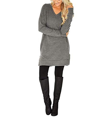 Due Lunga Moda Camicia Pantaloni Fessura dei Lato V Monocromo Neck Autunno Elegante Casual Chic Blusa Lunga Lungo Donna Ragazza Manica Grau Tops Tasche Bluse Vestito Camicie BqTpwp