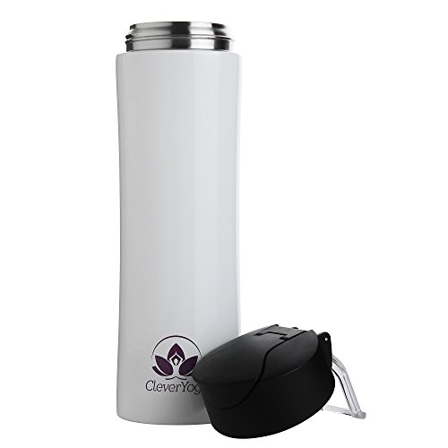 Stainless Steel Double Wall Vacuum Insulated Water Bottle Leak and Sweat Proof Keep Drinks Hot Cold for Gym Office Sports Hiking Travel 15oz (White)
