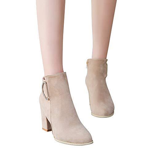 Lateral Tobillo Con Botas Grueso Moda Zapatos Martin Bloque Blusa Para Alto Otoño Tacón Qiusa Invierno Cremallera E De Mujer 7FqEBwg