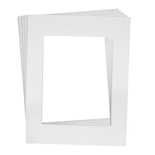 Golden State Art Pack of 5, 16x20 White Picture Mats Mattes with White Core Bevel Cut for 11x14 Photo + Backing + Bags (Surface Archival Backing Board)