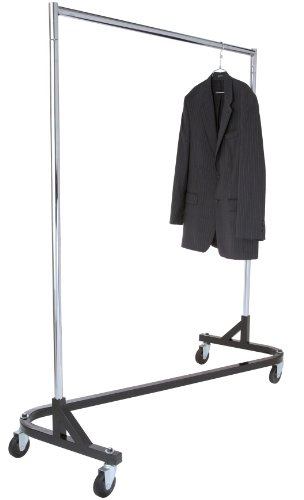 Super-Duty Rolling Z-Rack Garment Rack with 1 Piece Black Base. Holds up to 500lbs. by Metropolitan Display