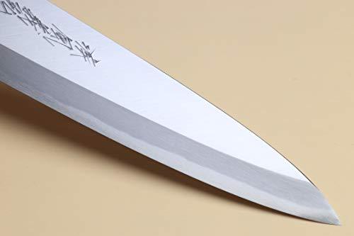 Yoshihiro Hongasumi Blue Steel Mioroshi Filet Sushi Sashimi Japanese Knife Magnolia Handle (8.25''/210mm) by Yoshihiro (Image #4)