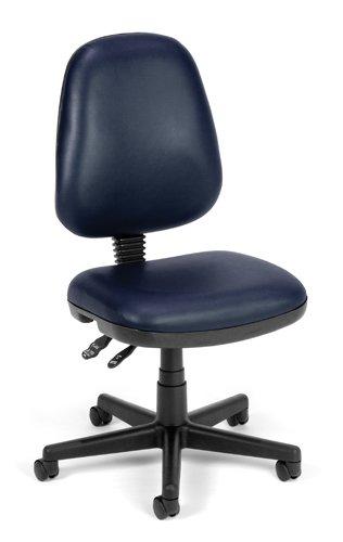 Computer Task Chair - Navy Vinyl - Hard Floor Casters ()