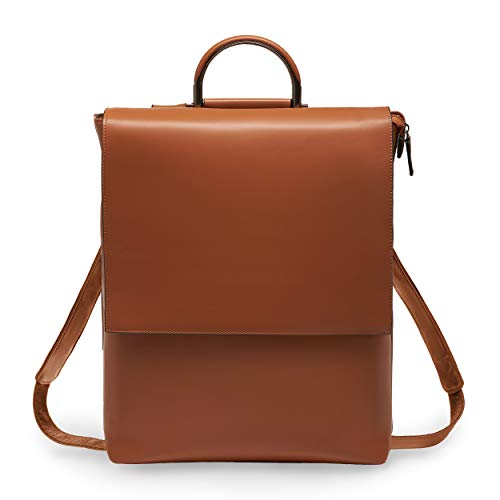 (BRESCONI Laptop Backpack for Women - Fits up to 15.6 inch Computer/Notebook - Vegan Leather Slim Business Bag for Ladies - Perfect Rucksack for Carrying Office, College & School Accessories(Brown) )